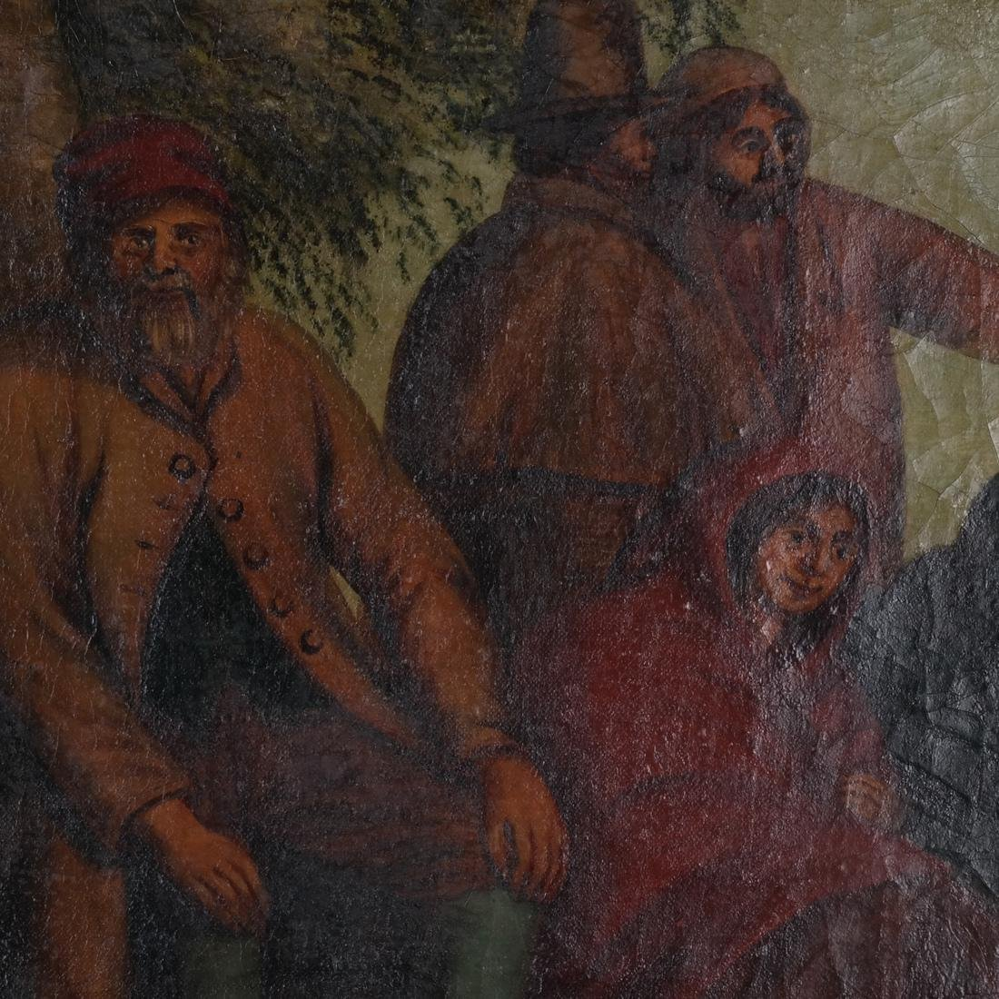 Camp Scene with Figures, Oil on Canvas - 4