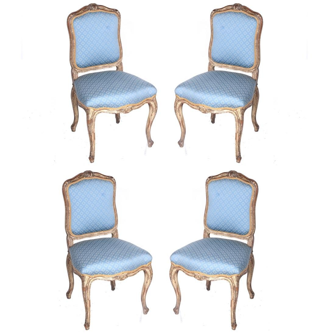 Set of Four Antique Painted Side Chairs
