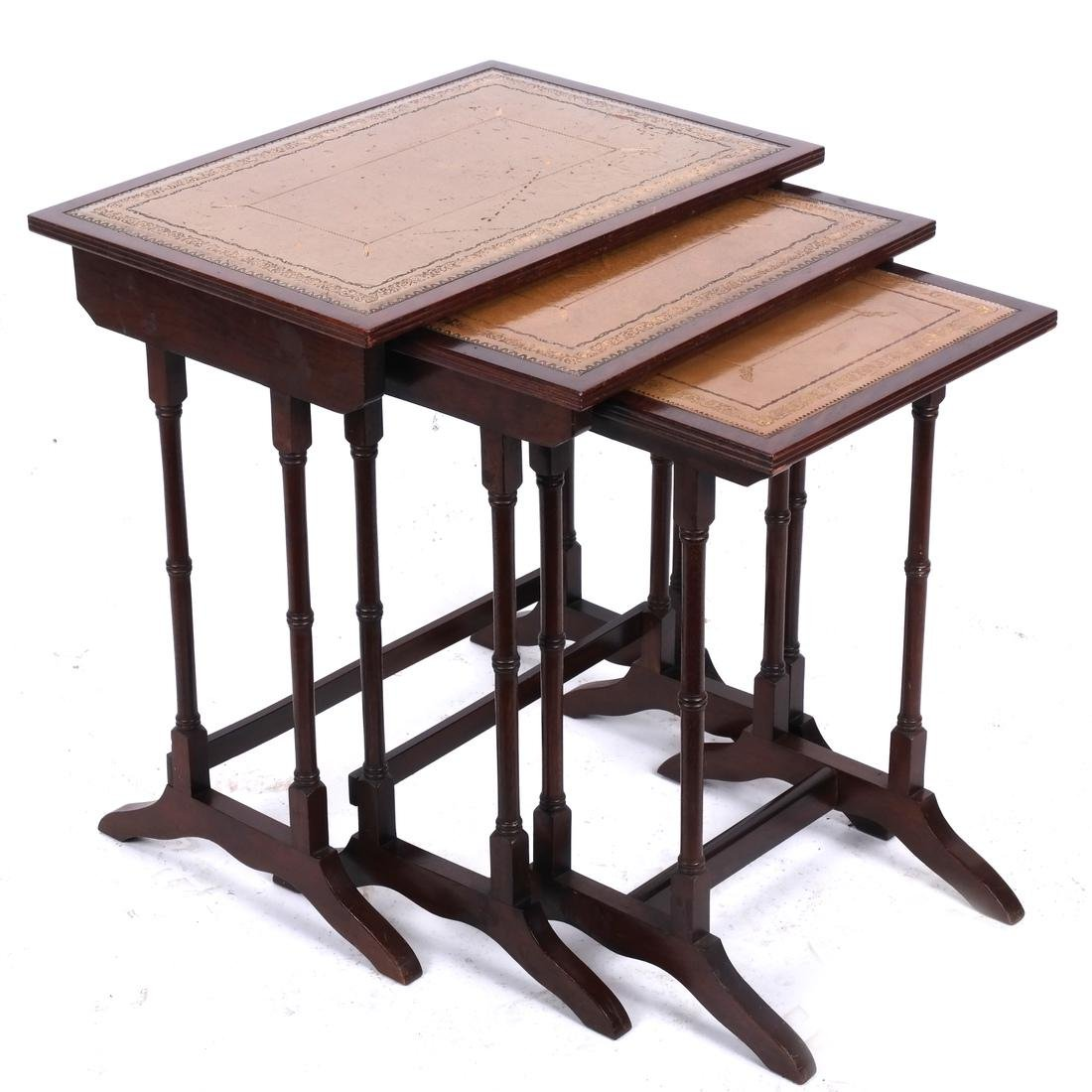 Mahogany Nest of Leather-Top Tables