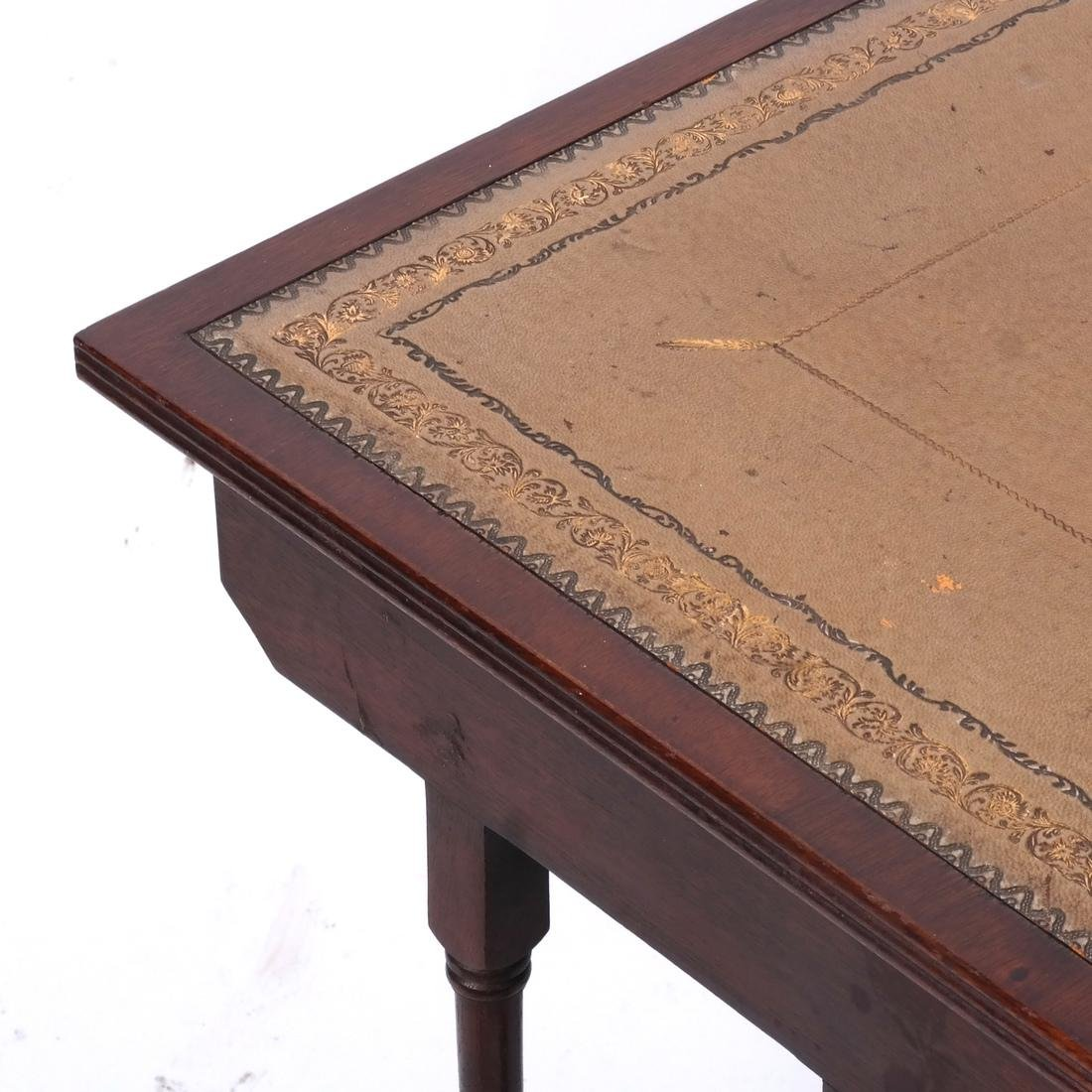 Mahogany Nest of Leather-Top Tables - 3
