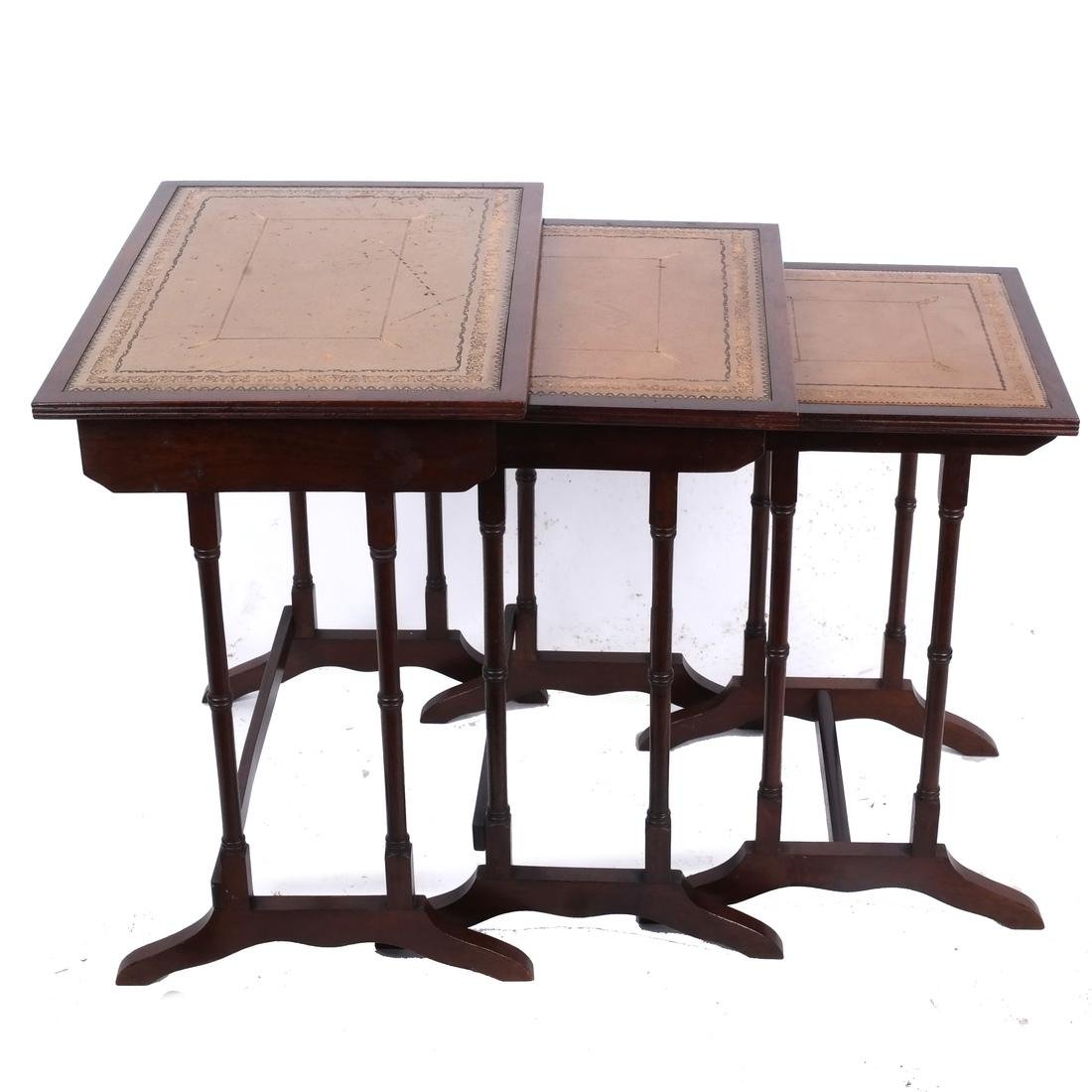 Mahogany Nest of Leather-Top Tables - 4