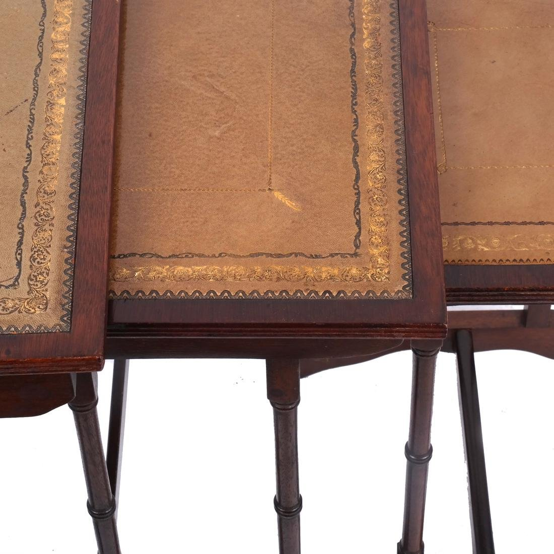 Mahogany Nest of Leather-Top Tables - 5