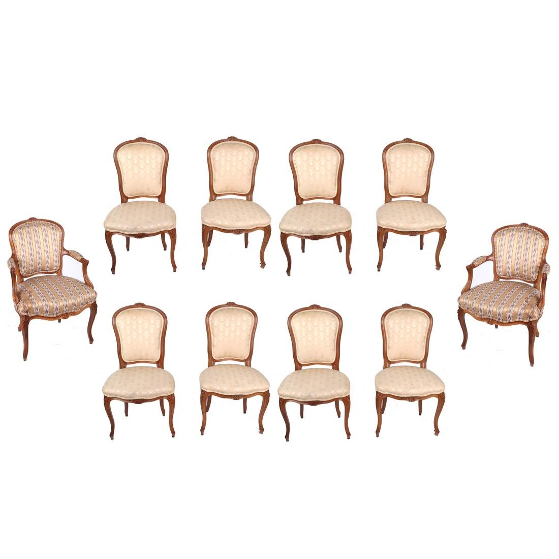 Set of 10 Provincial Dining Chairs