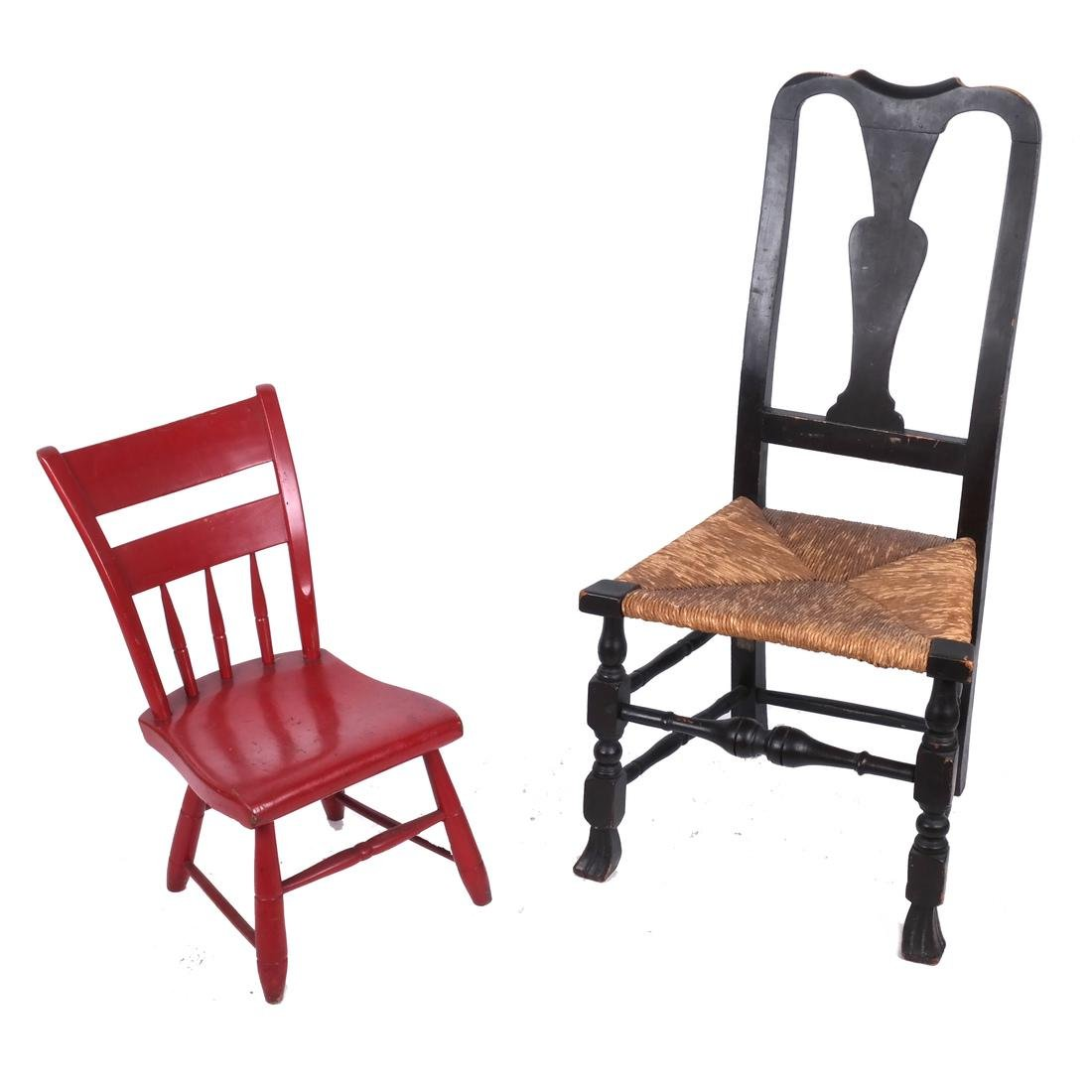 Two Chairs: Red & Rush Seat