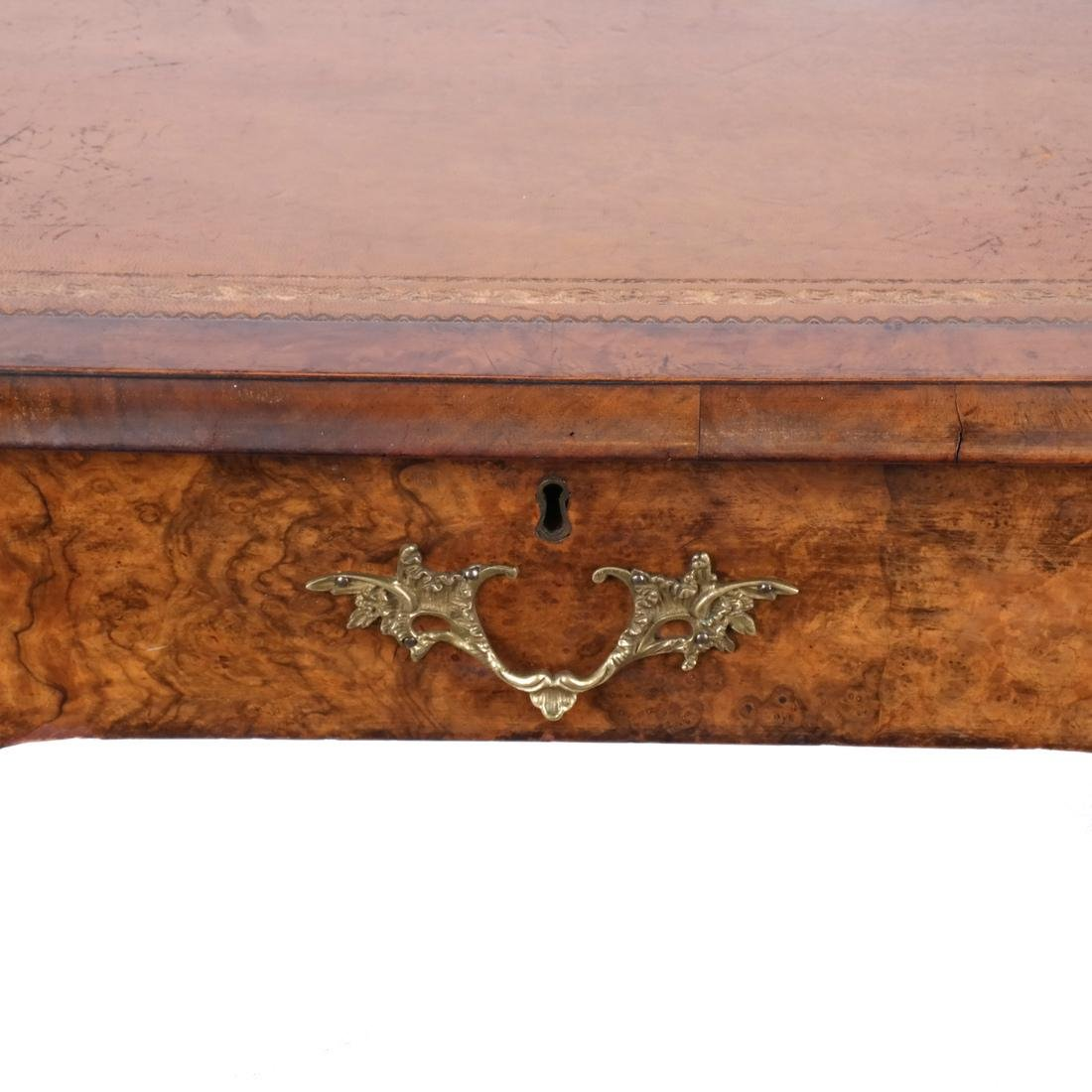 Walnut Tooled Leather Bureau Plat - 3
