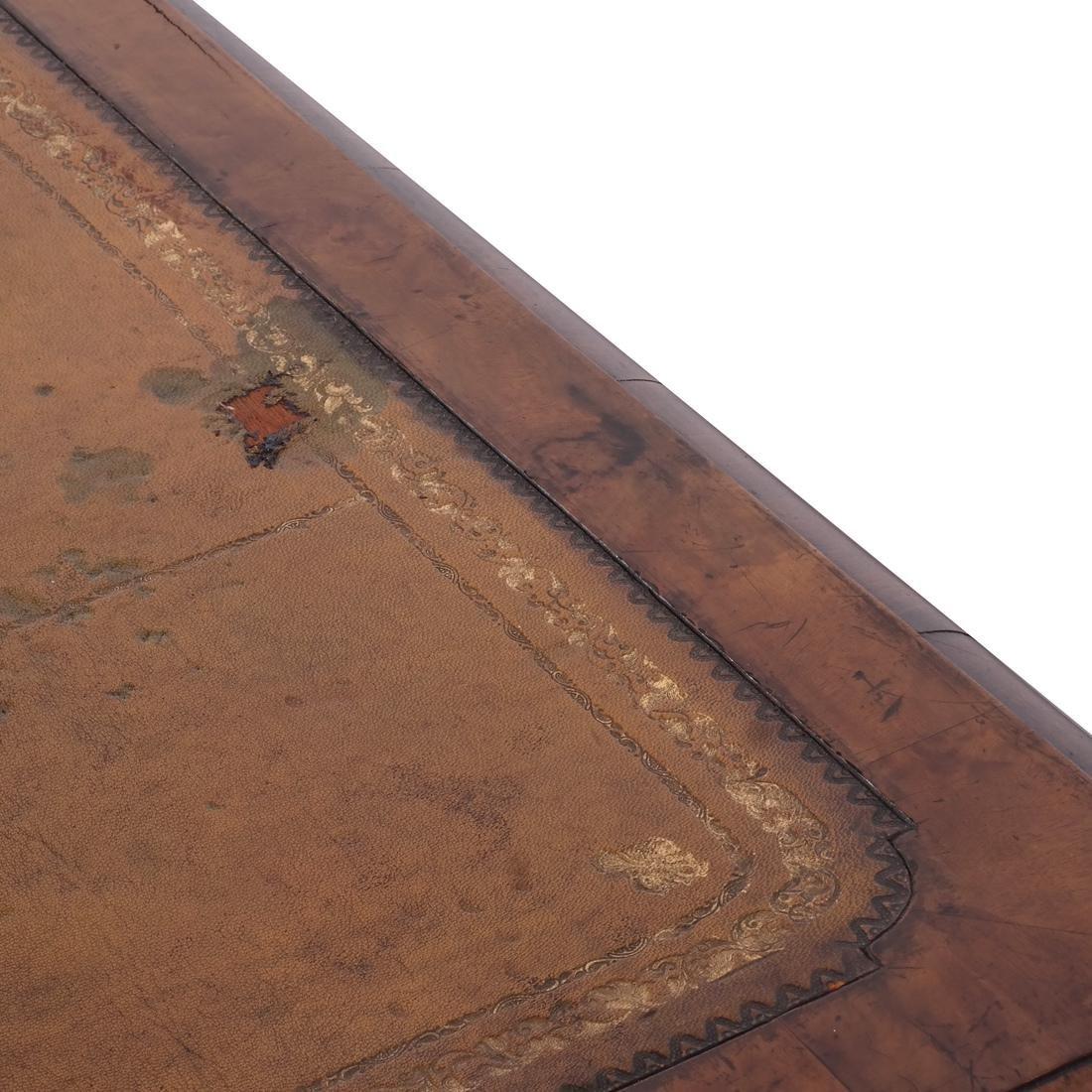 Walnut Tooled Leather Bureau Plat - 8