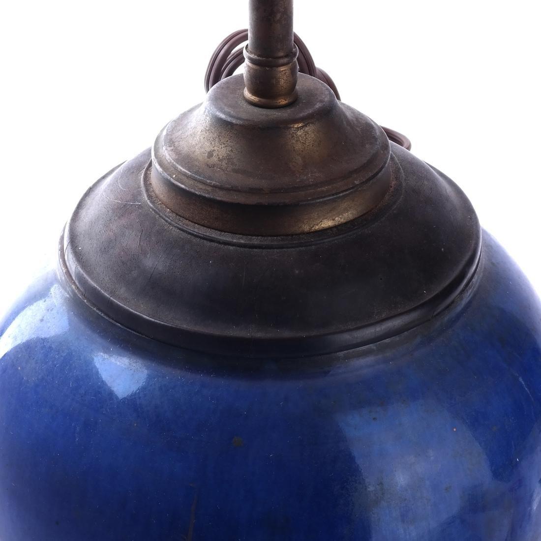 Asian Blue Ceramic Lamp - 2