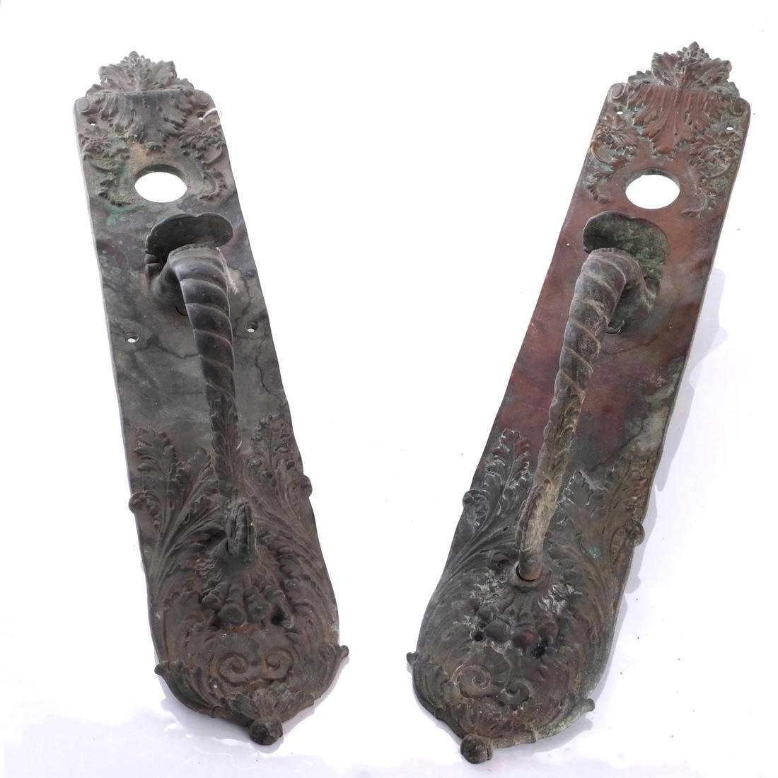Two Bronze Door Handles: Russel & Erwin USA
