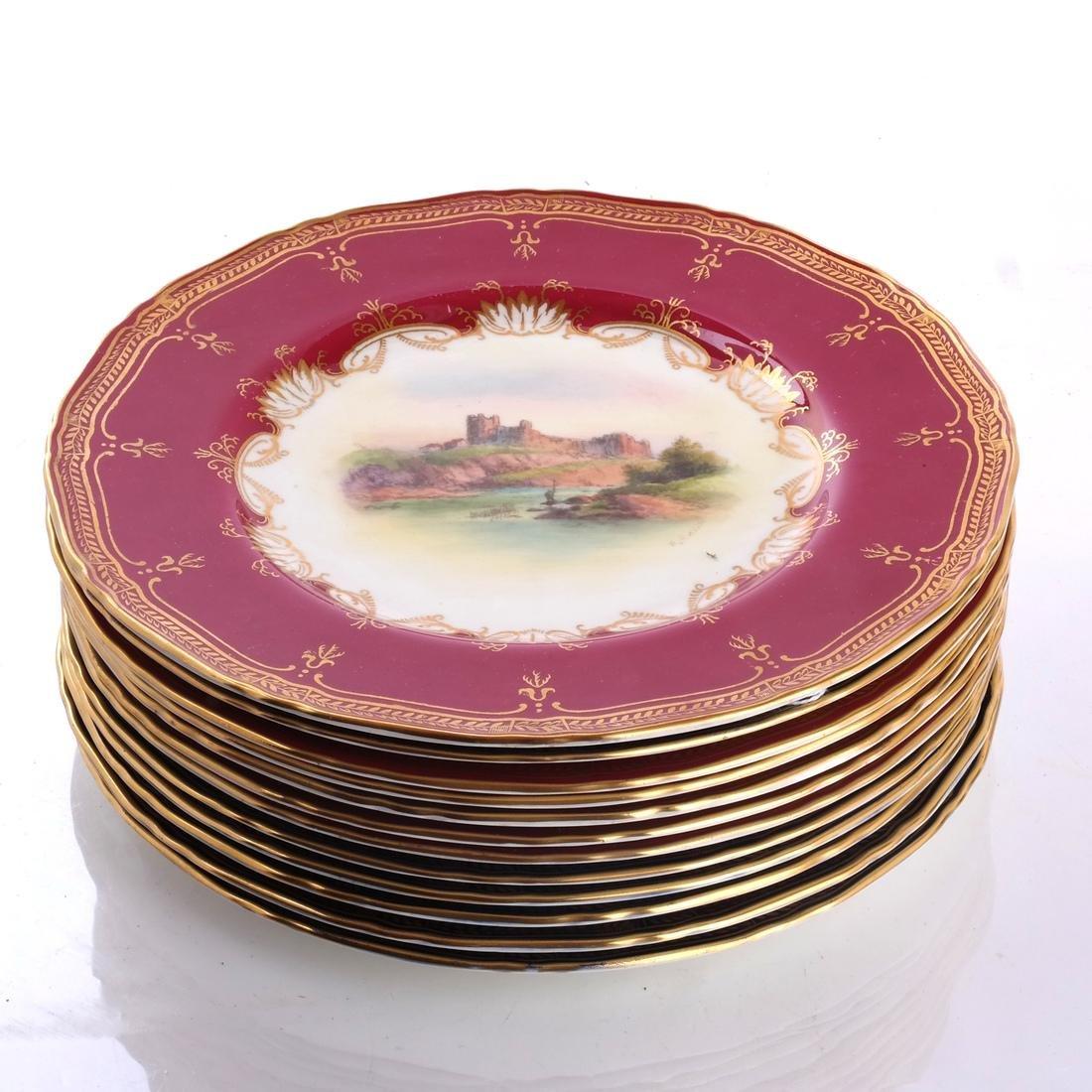 """12 Royal Worcester Plates: """"Richmond Castle"""""""