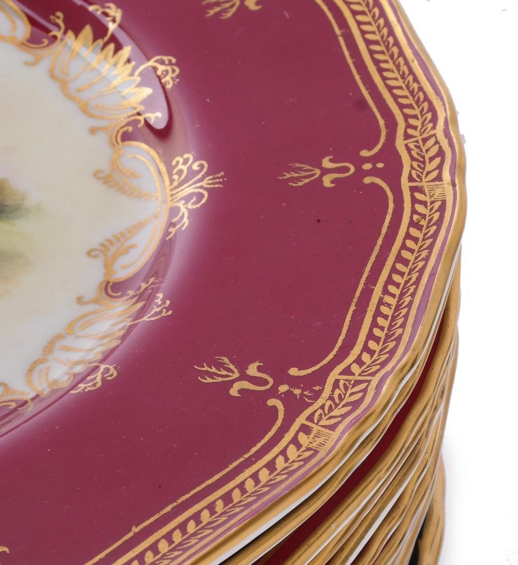"""12 Royal Worcester Plates: """"Richmond Castle"""" - 4"""