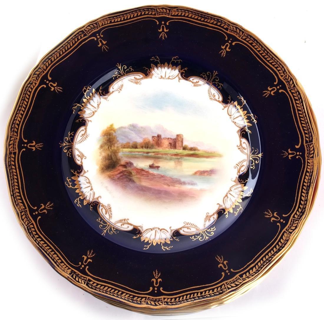 """12 Royal Worcester Plates: """"Richmond Castle"""" - 5"""