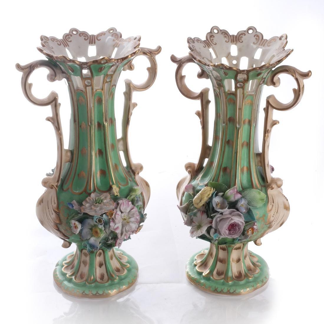 Pair of Green Porcelain Flare Vases