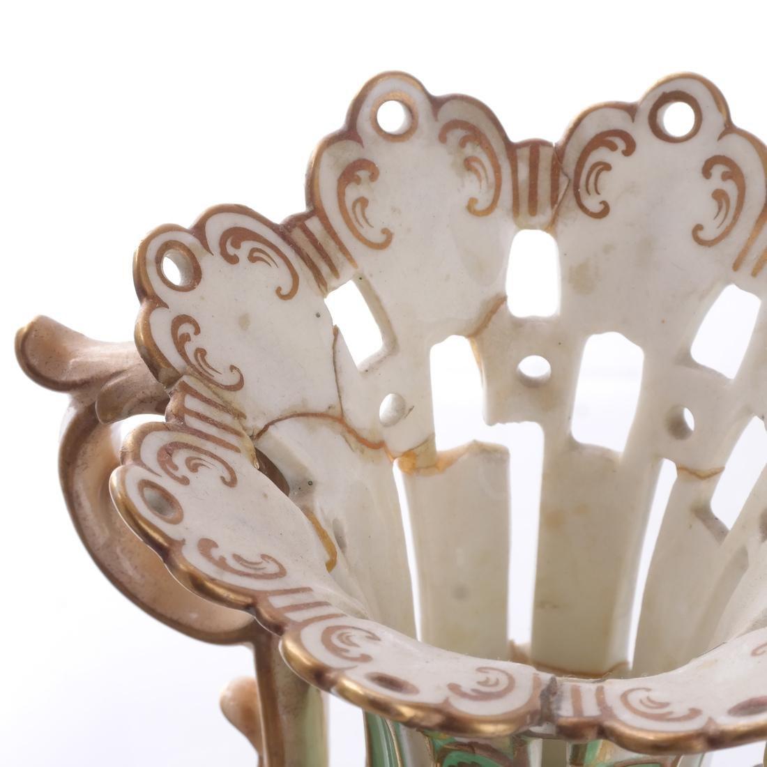 Pair of Green Porcelain Flare Vases - 2