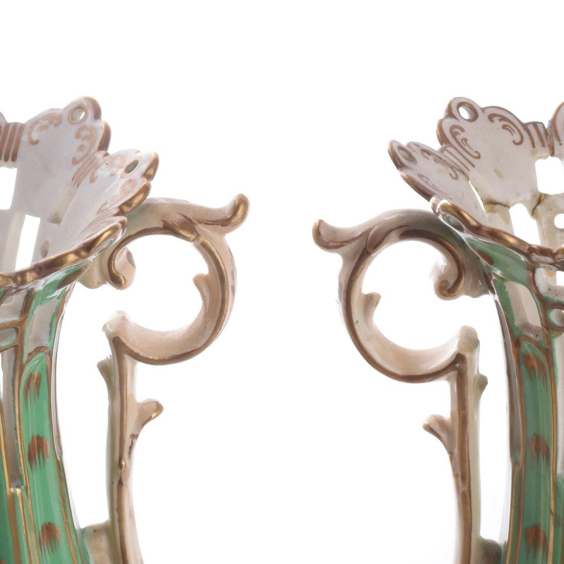 Pair of Green Porcelain Flare Vases - 5