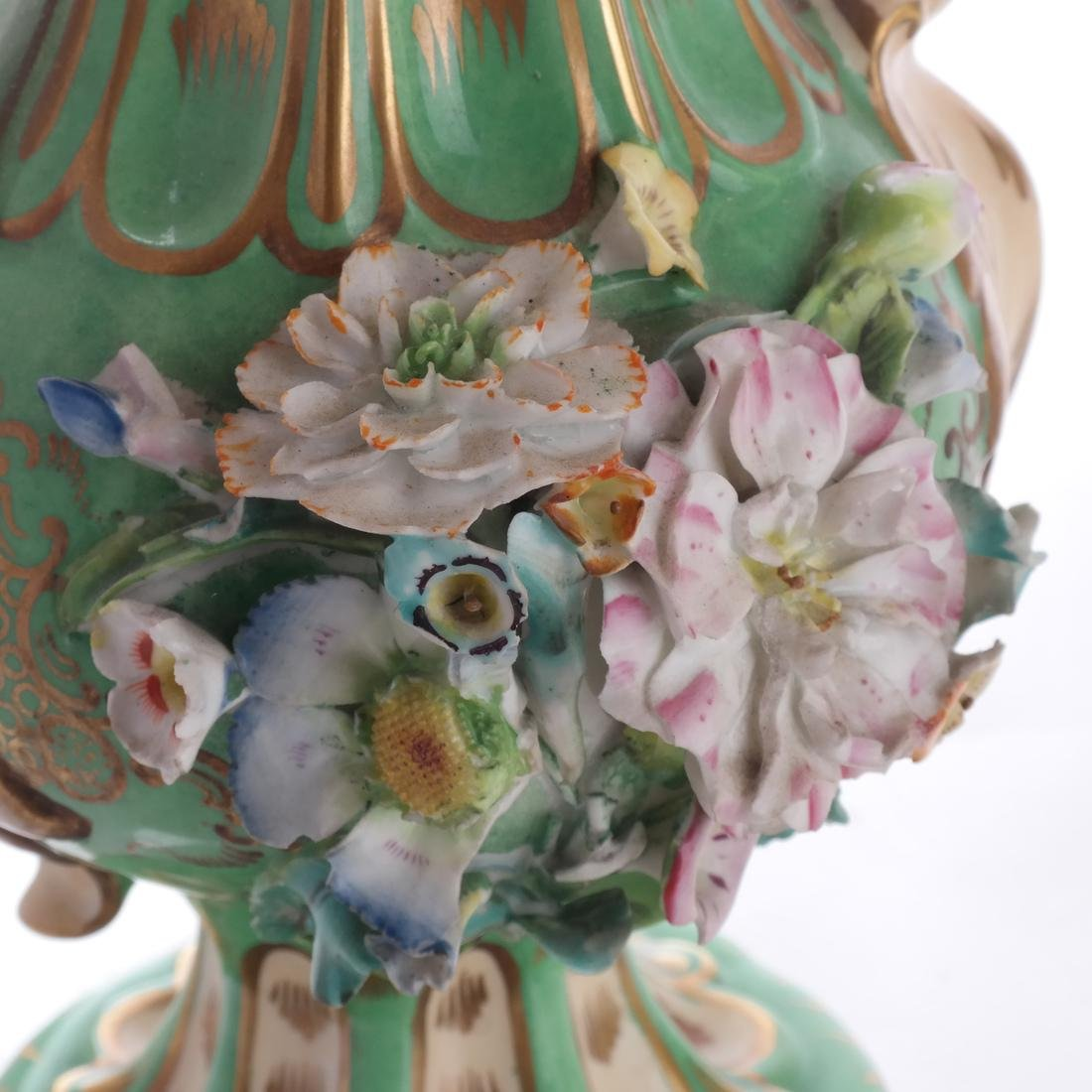 Pair of Green Porcelain Flare Vases - 6