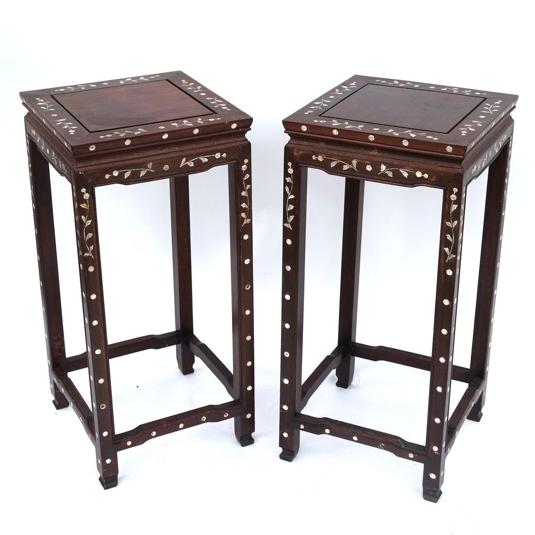 Indo-Chinese Pair of Inlaid Tables