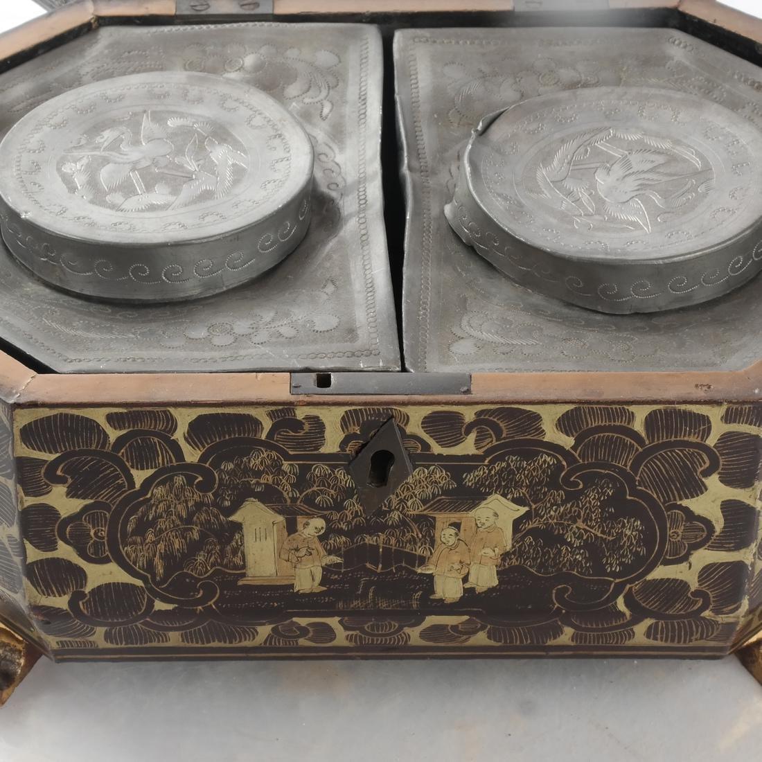 Chinoiserie Black Papier Mache Tea Caddy - 10
