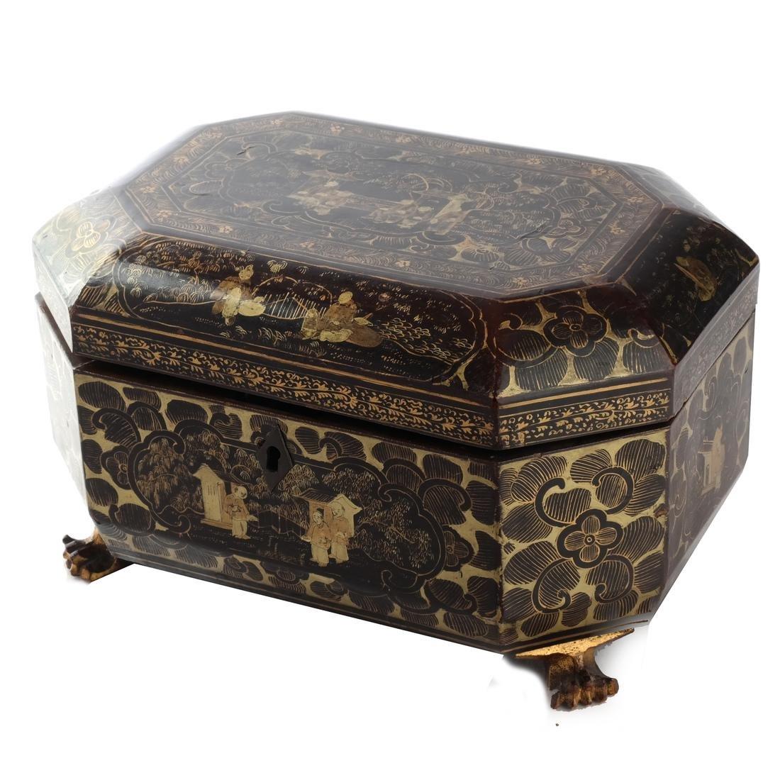 Chinoiserie Black Papier Mache Tea Caddy