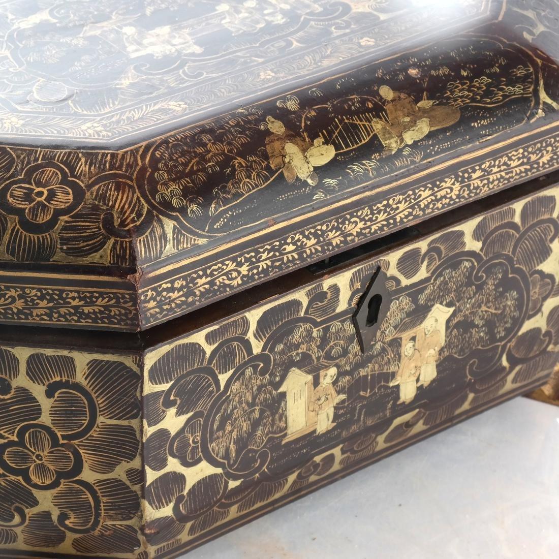Chinoiserie Black Papier Mache Tea Caddy - 4