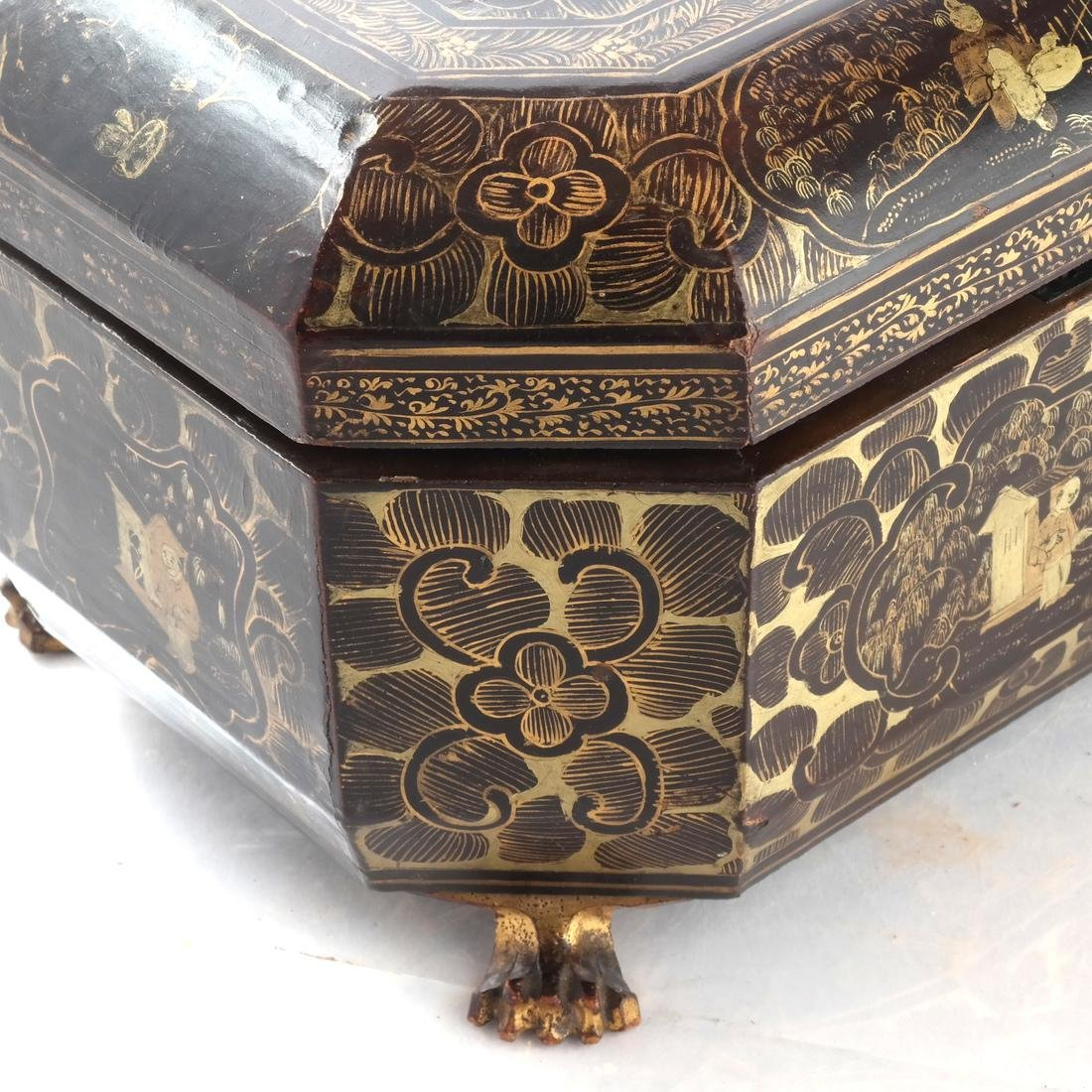 Chinoiserie Black Papier Mache Tea Caddy - 5