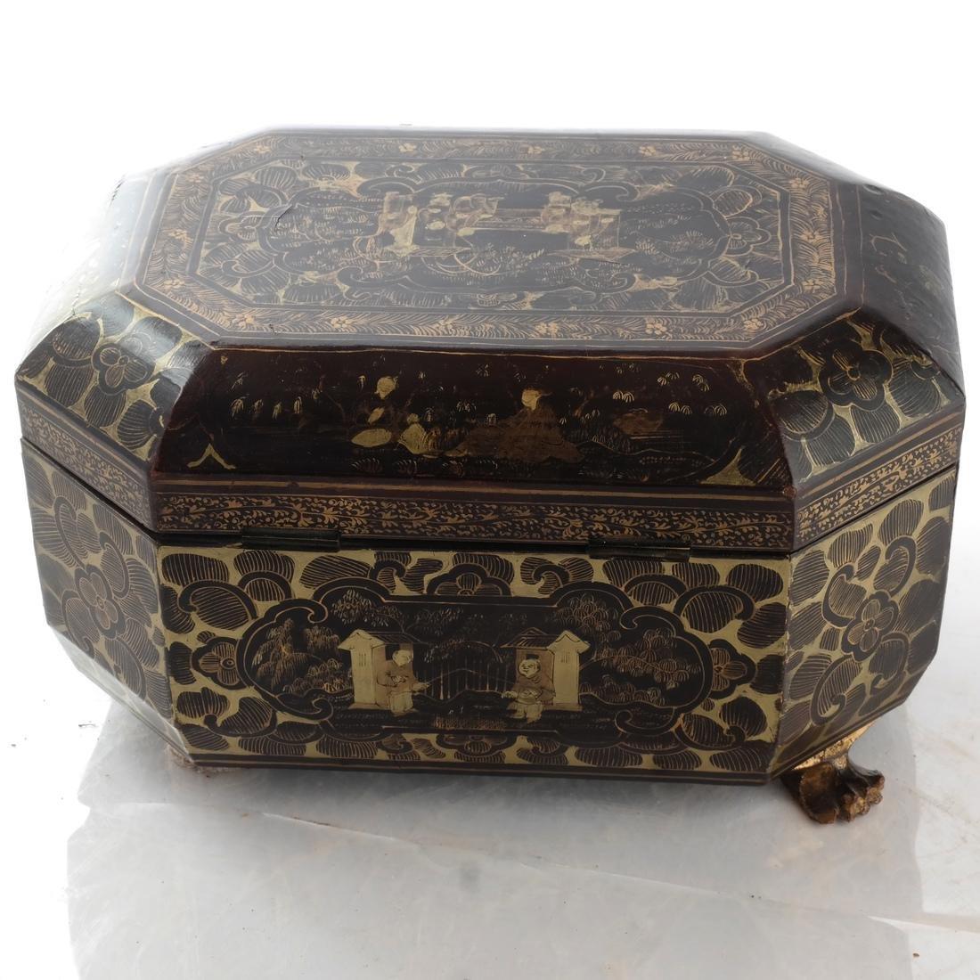 Chinoiserie Black Papier Mache Tea Caddy - 6