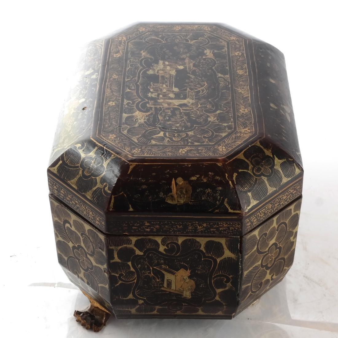 Chinoiserie Black Papier Mache Tea Caddy - 7