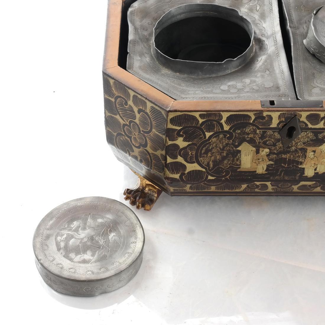 Chinoiserie Black Papier Mache Tea Caddy - 9