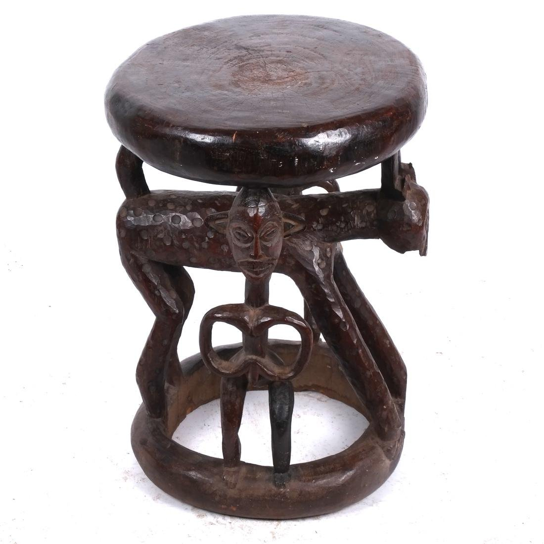 Cameroon: Figural Carved Wood Stool