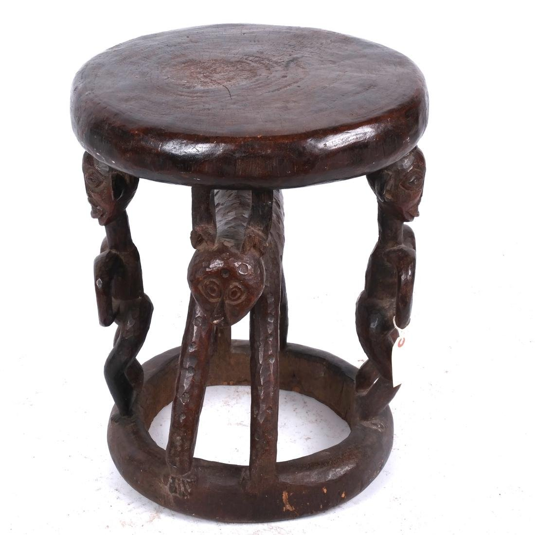 Cameroon: Figural Carved Wood Stool - 2