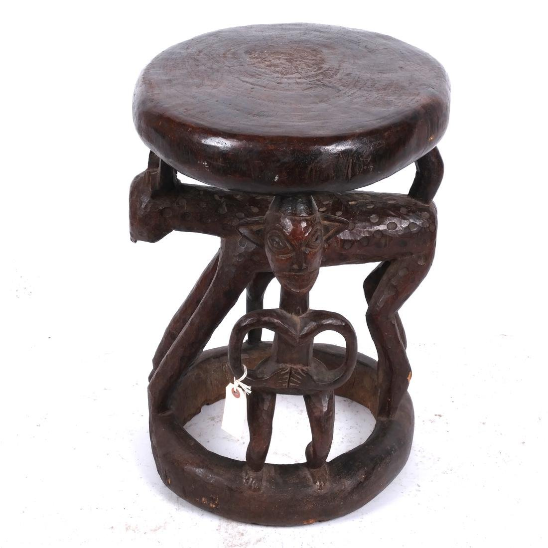 Cameroon: Figural Carved Wood Stool - 3