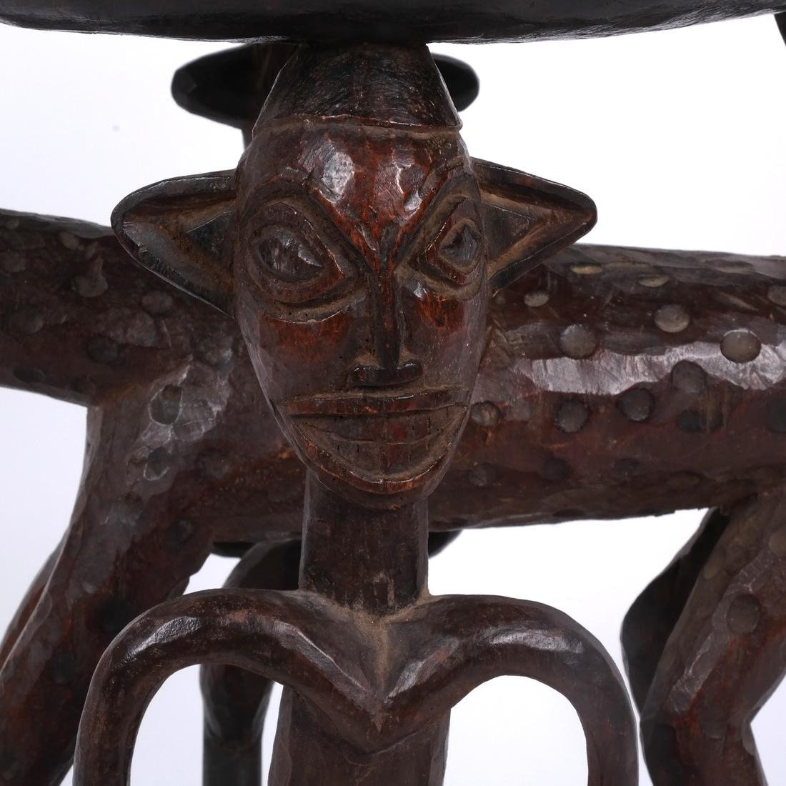 Cameroon: Figural Carved Wood Stool - 5