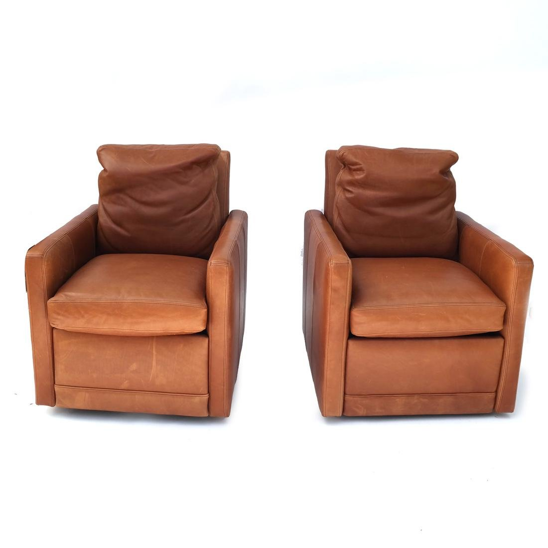 Pair Reclining Leather Club Chairs