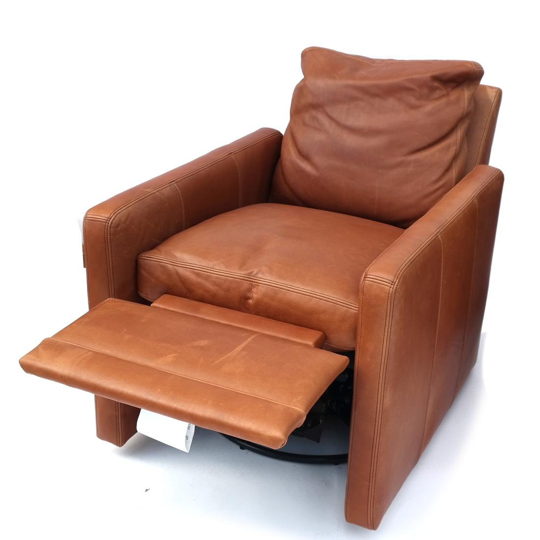 Pair Reclining Leather Club Chairs - 4