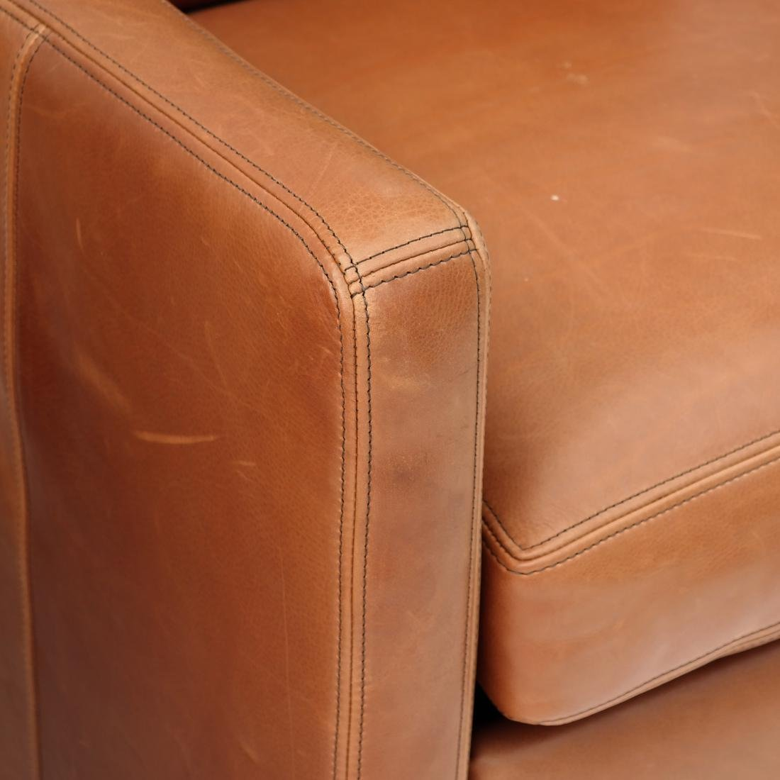 Pair Reclining Leather Club Chairs - 6