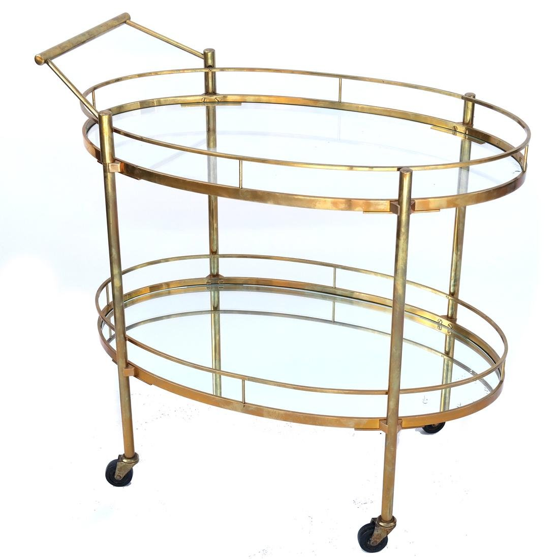 Contemporary Gilt Brass Tea Cart/Trolley