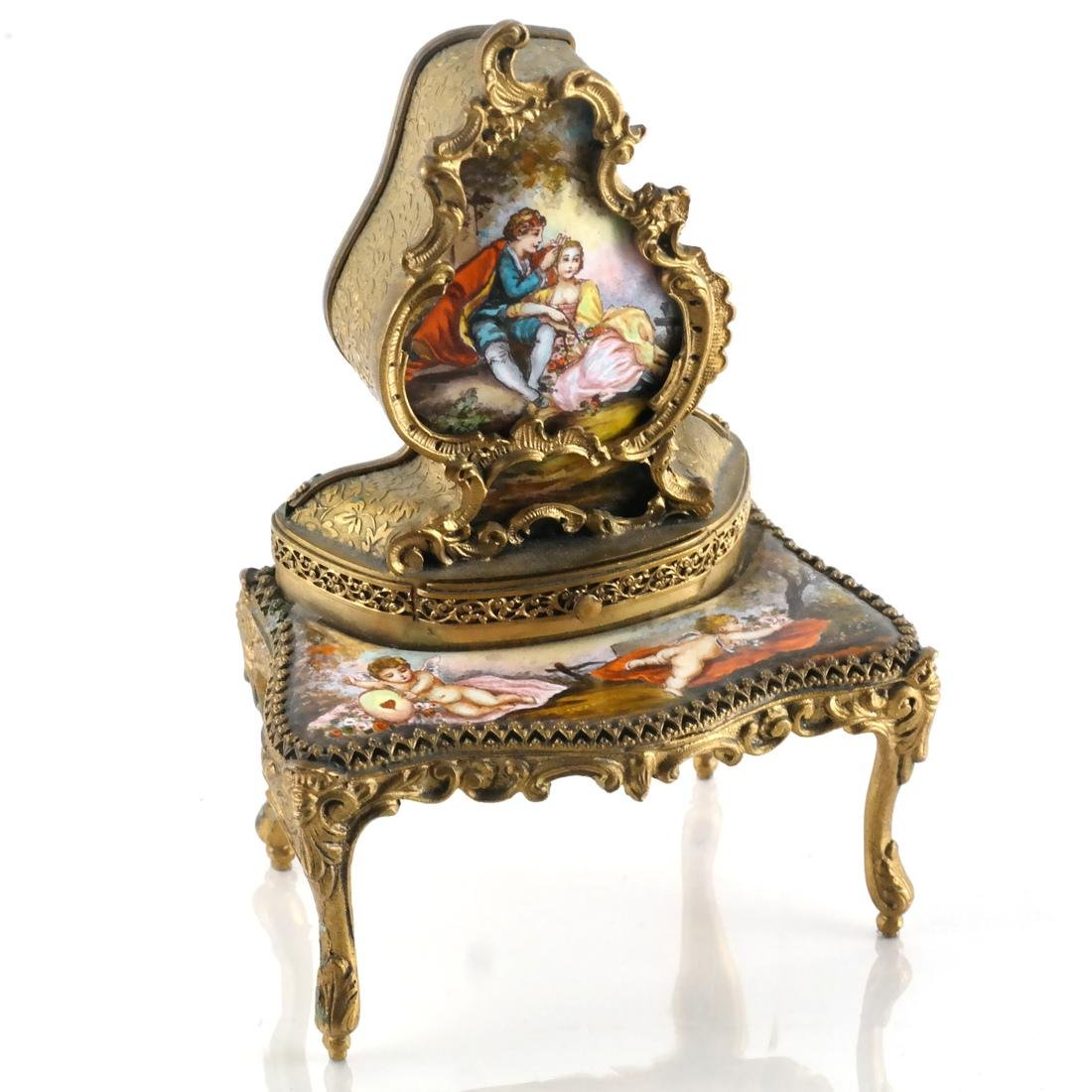 Viennese Enamel Desk-Form Music Box