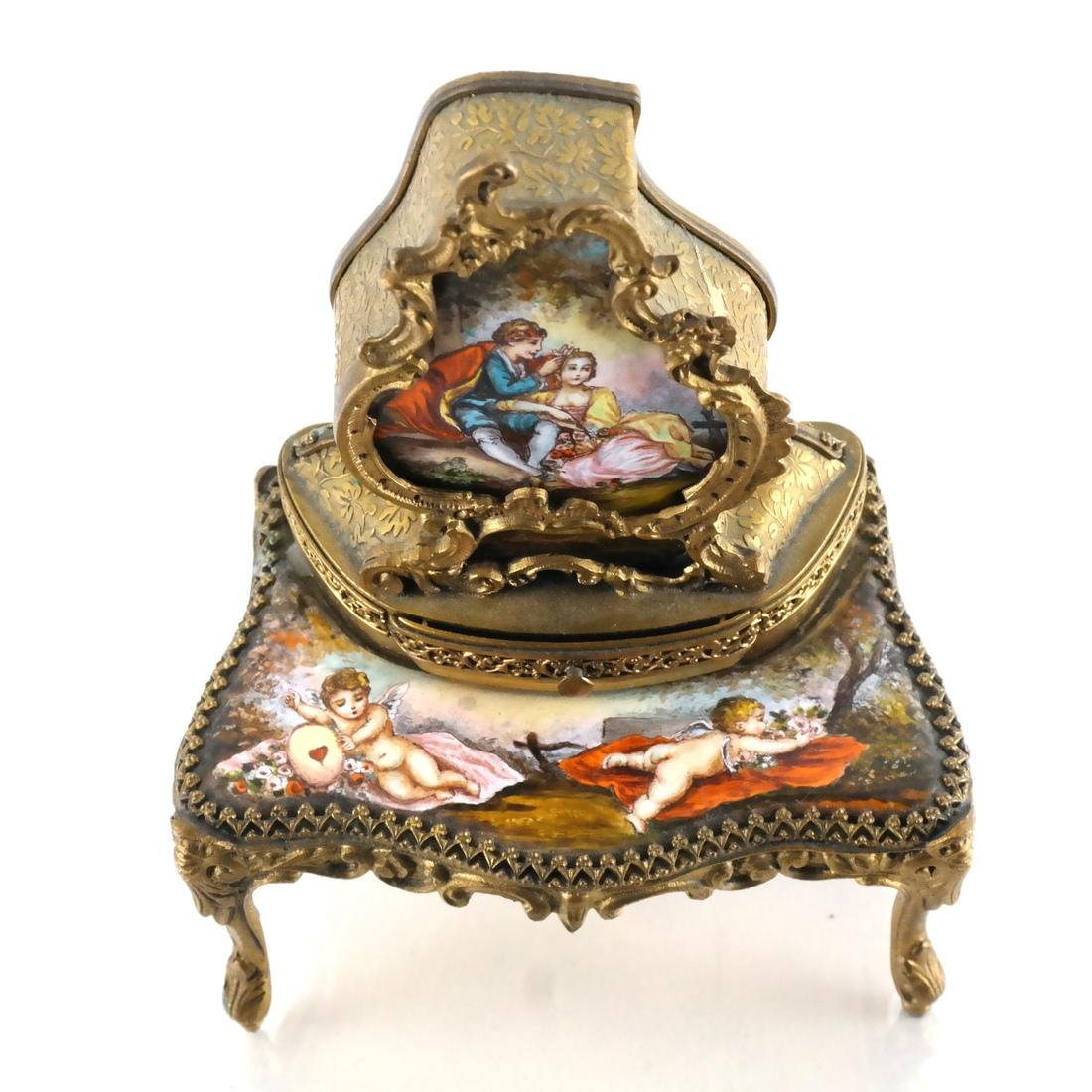 Viennese Enamel Desk-Form Music Box - 2