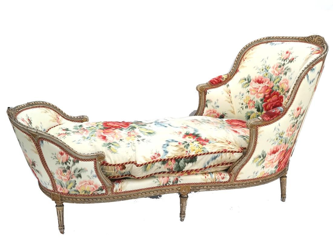Antique French Painted Chaise Lounge