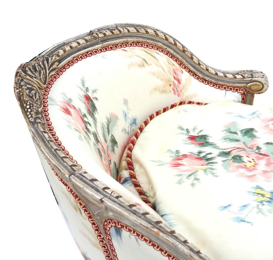 Antique French Painted Chaise Lounge - 5