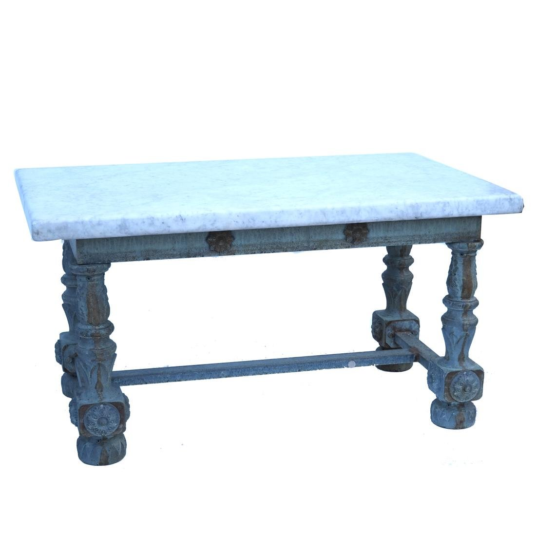 Antique Iron & Marble-Top Baker's Table