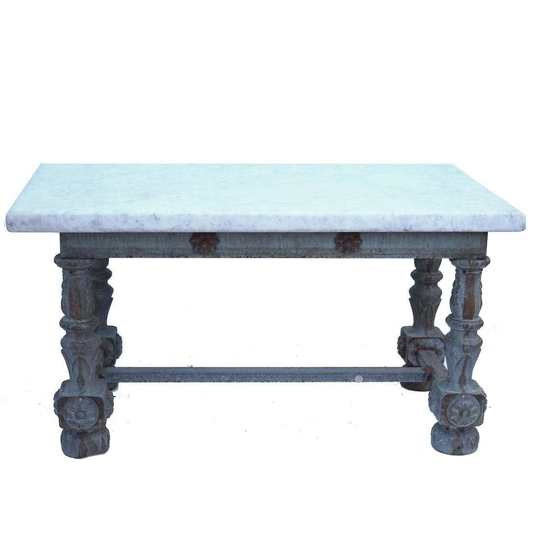Antique Iron & Marble-Top Baker's Table - 2