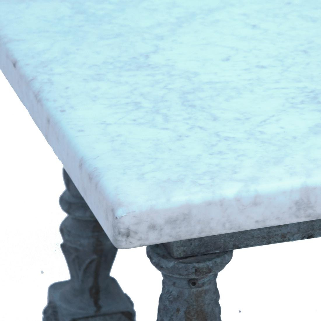 Antique Iron & Marble-Top Baker's Table - 3