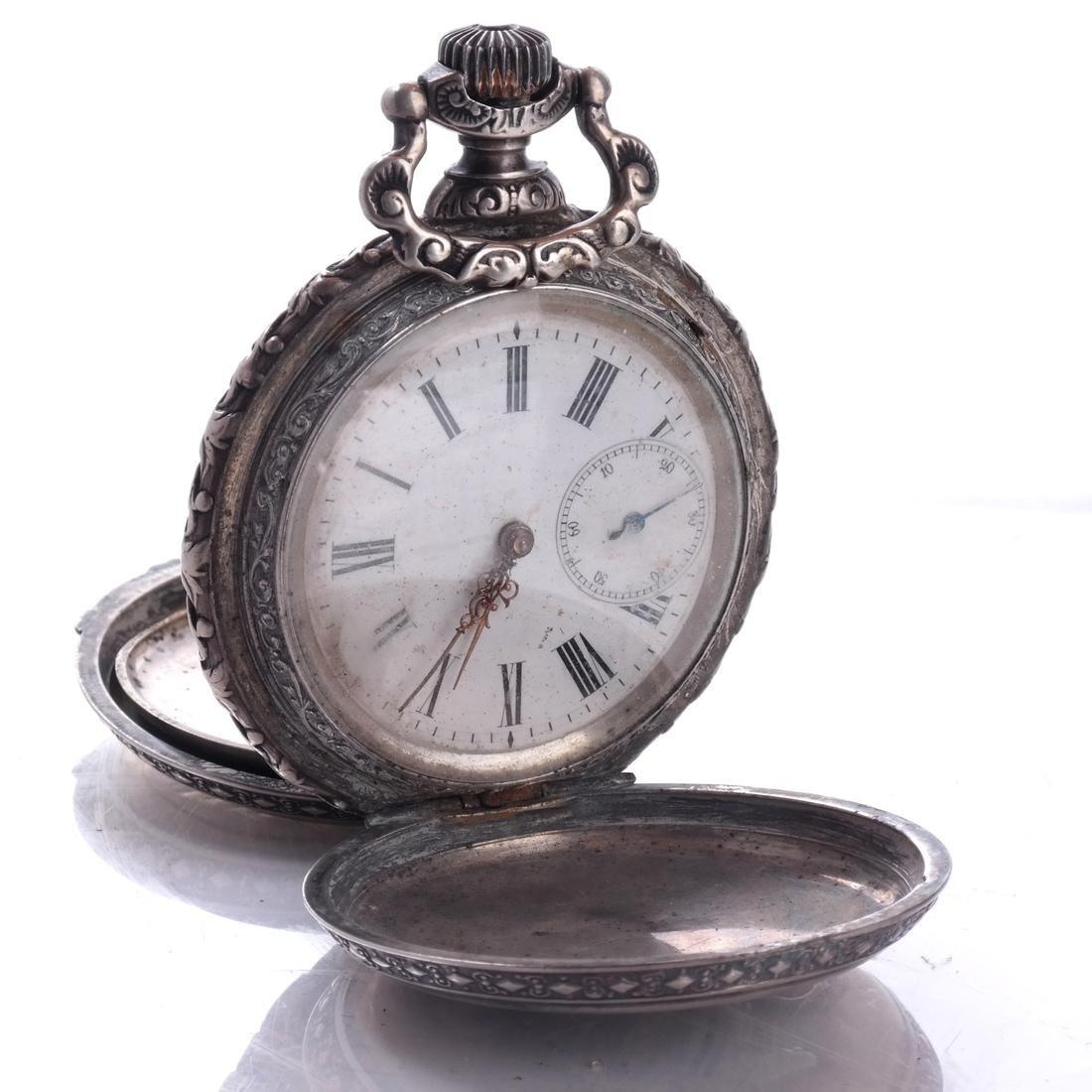 .800 Silver Pocket Watch - 2