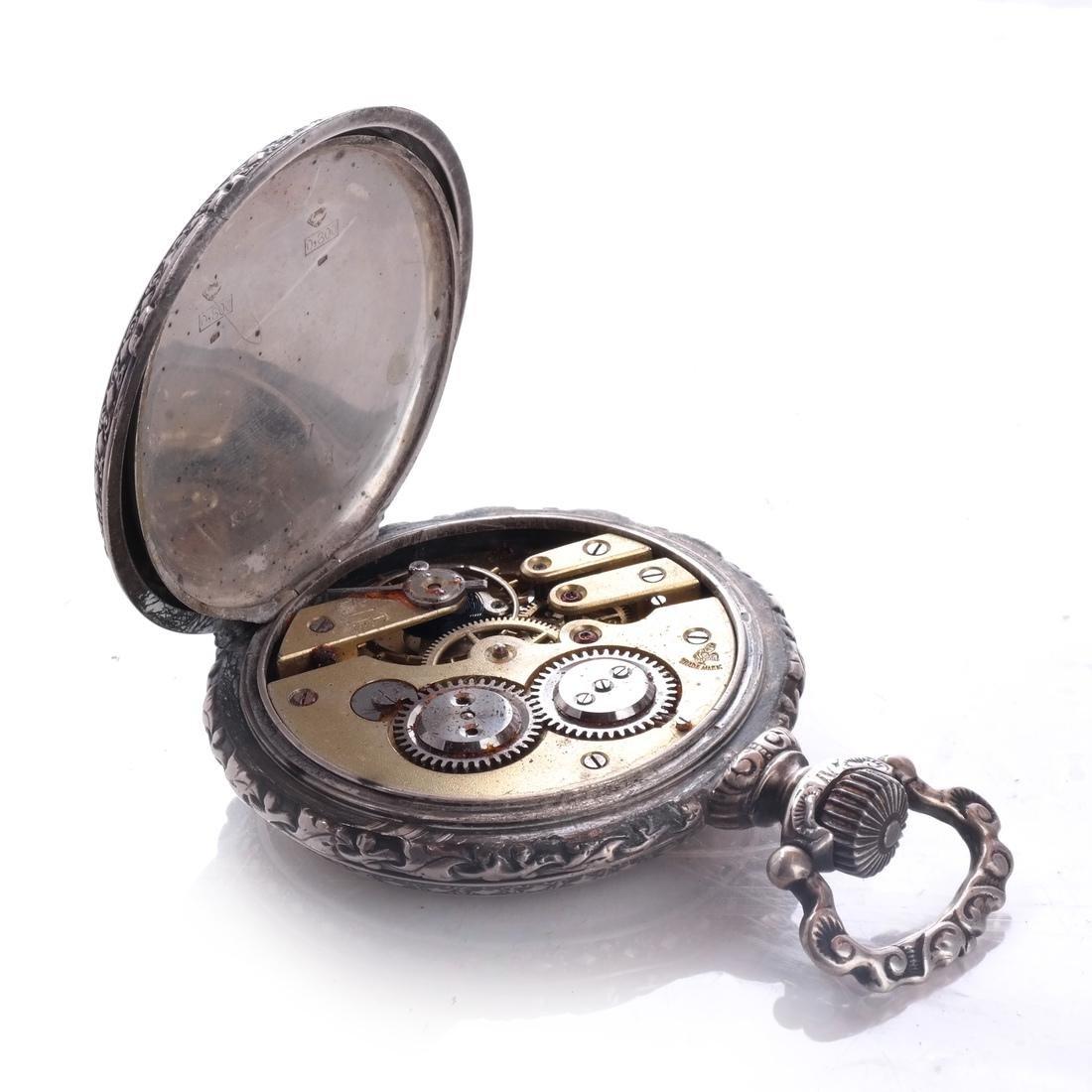 .800 Silver Pocket Watch - 3