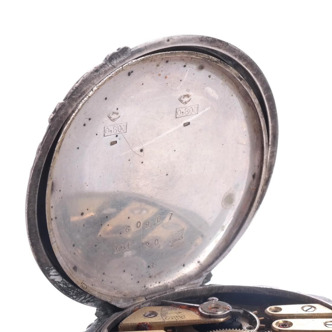 .800 Silver Pocket Watch - 4