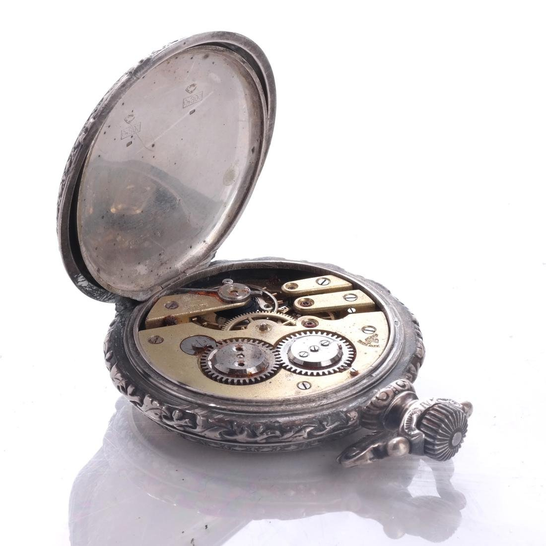 .800 Silver Pocket Watch - 5