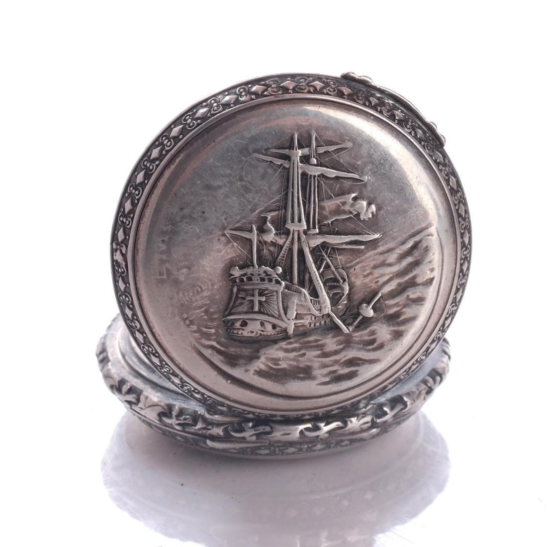 .800 Silver Pocket Watch - 7