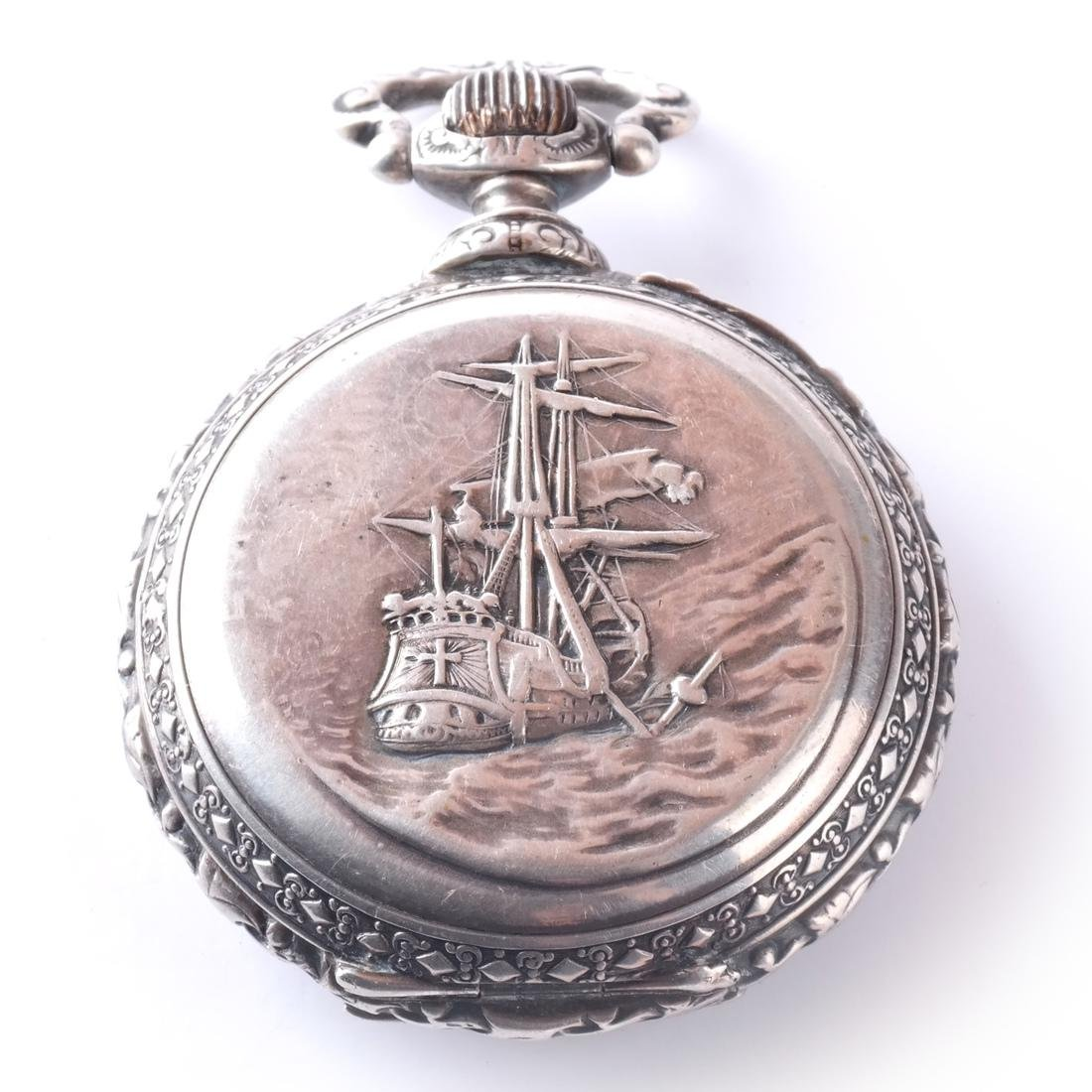.800 Silver Pocket Watch - 9
