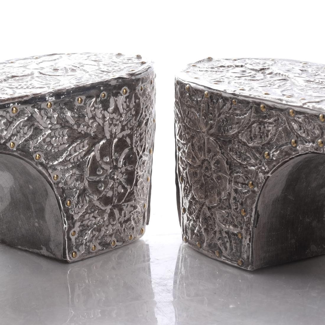 Pair Ottoman Market Silvered Shoes - 6