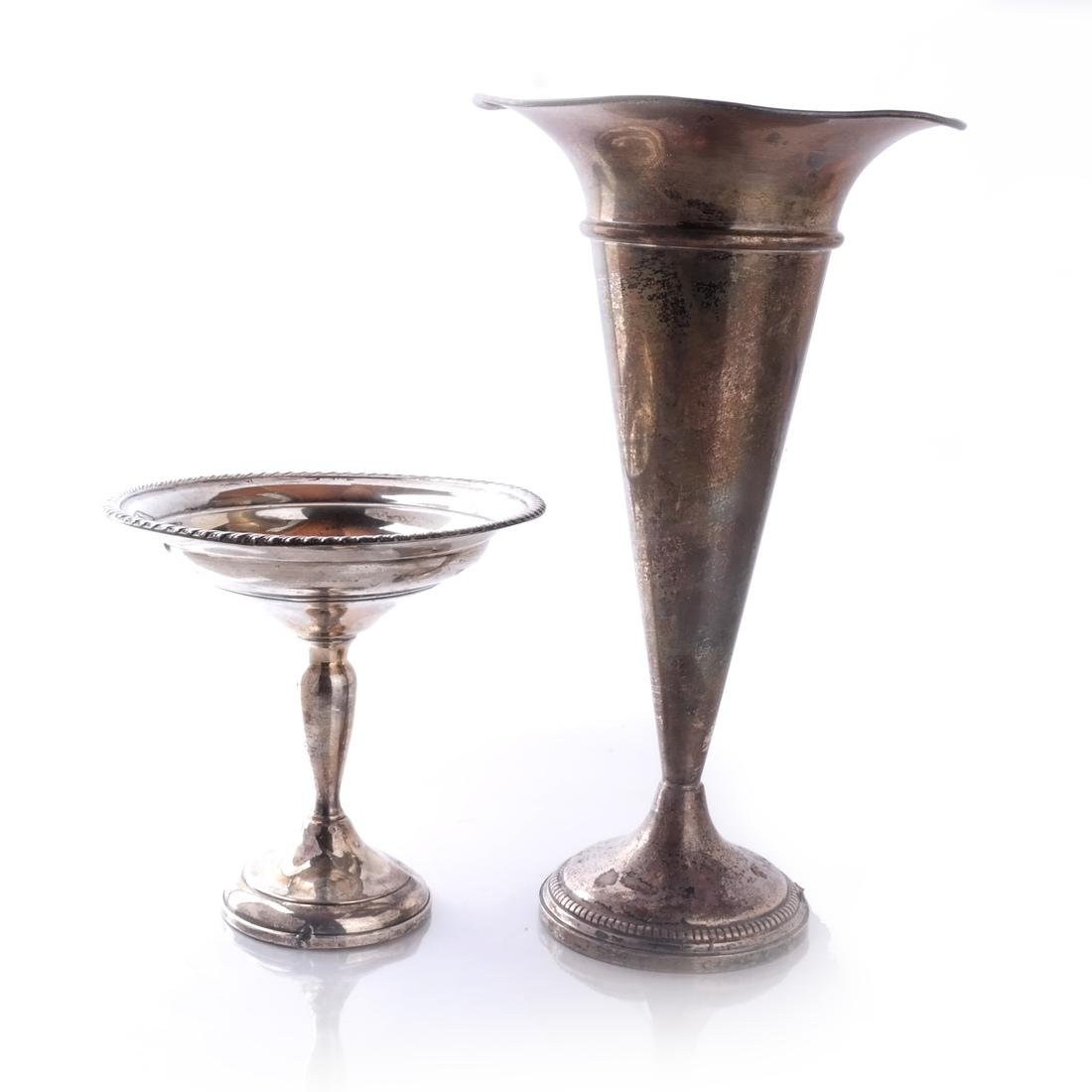 Weighted Silver Plate Trumpet Vase, Coupe